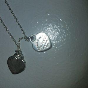 AuthenticTiffany & Co silver double heart pendant